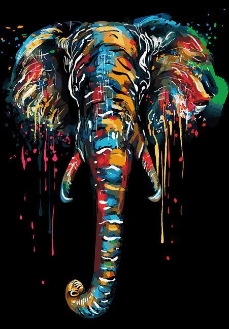 Toile Tête d'Éléphant Colorée