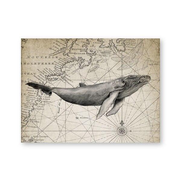 Toile Baleine Noir et Blanc