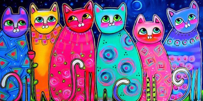 Toile Chats Multicolores