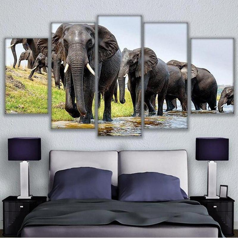 Tableau Éléphants Infatigables