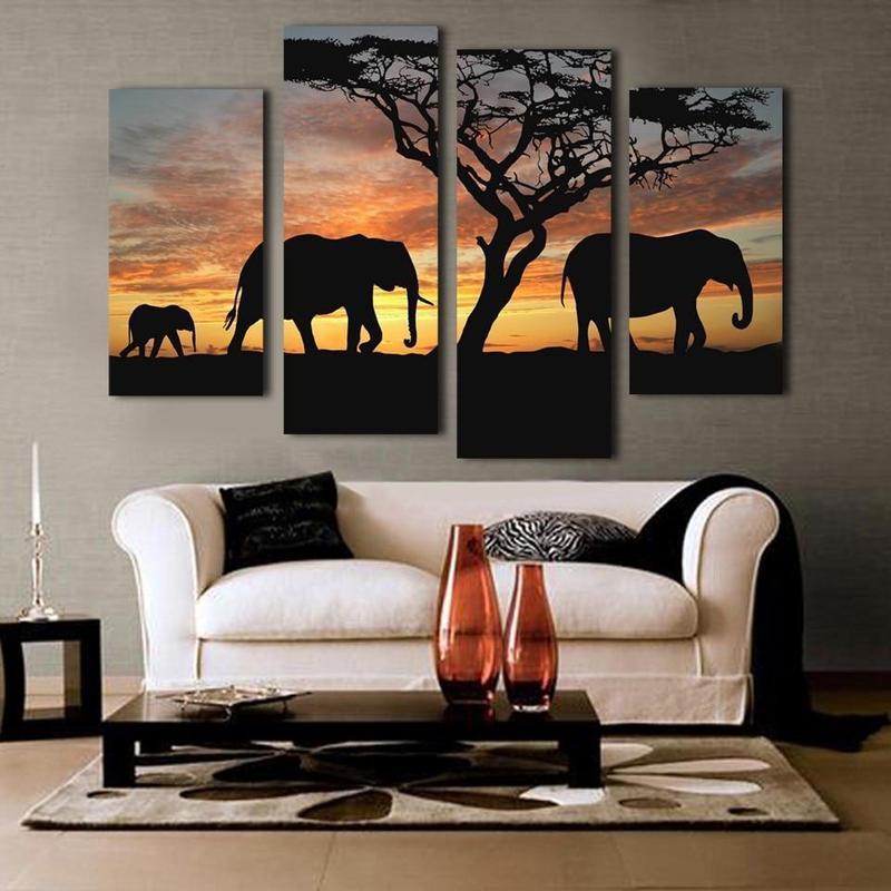 Tableau Éléphants Africains