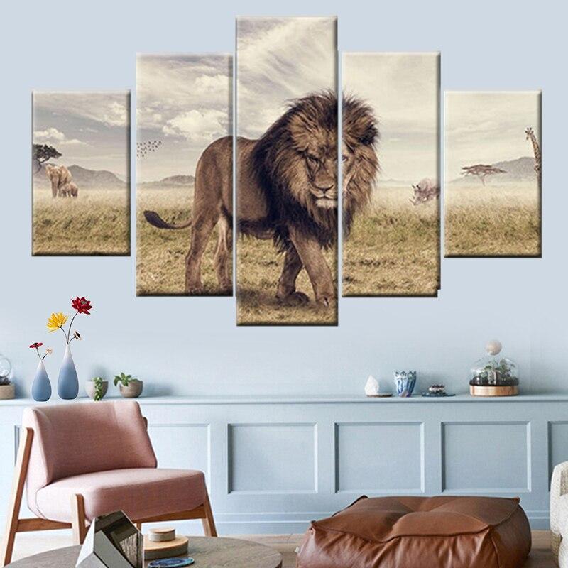 Tableau Lion de la Savane