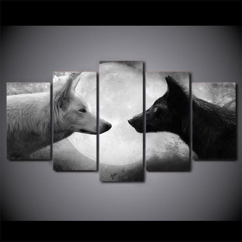 Tableau Loups Sauvages Noir et Blanc