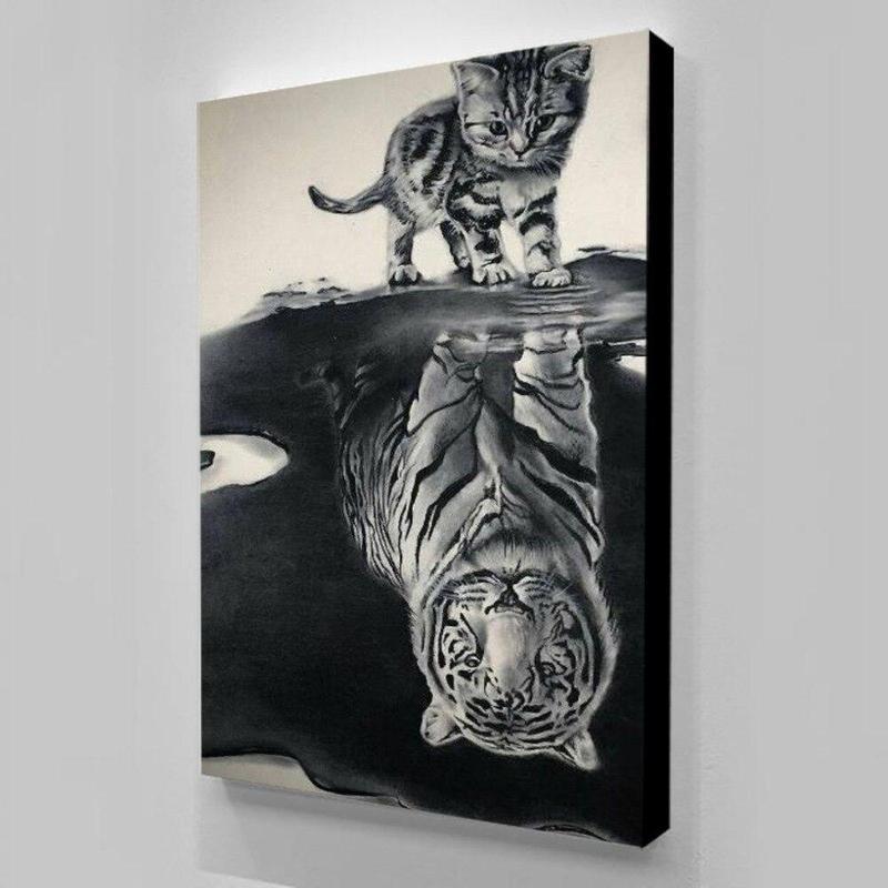Tableau Chat Reflet Tigre