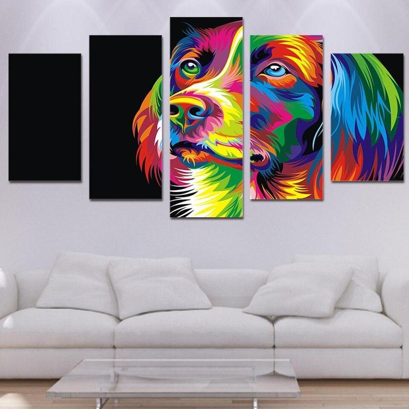 Tableau Chien Multicolore
