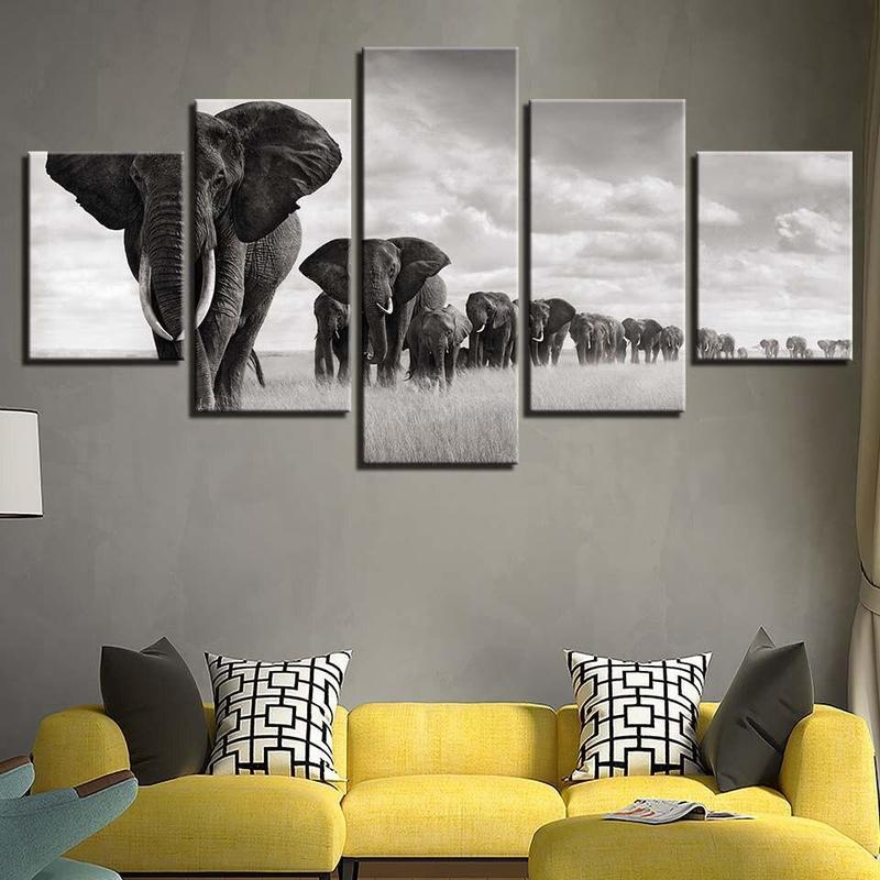 Tableau Éléphants Robustes