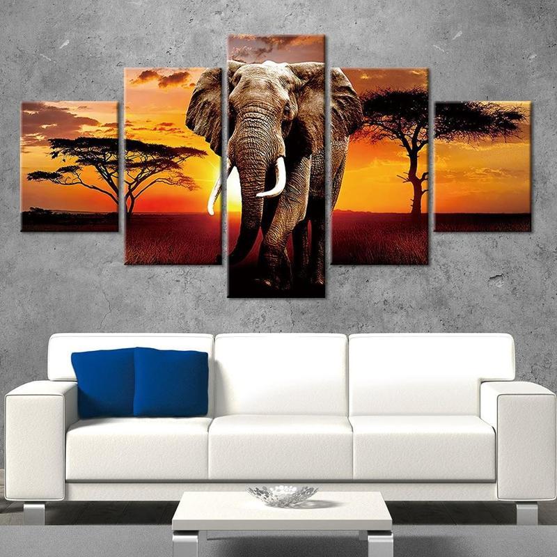 Tableau Éléphant Savane Africaine