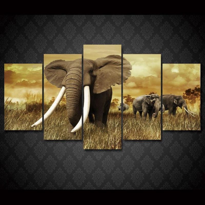 Tableau Éléphants Puissants