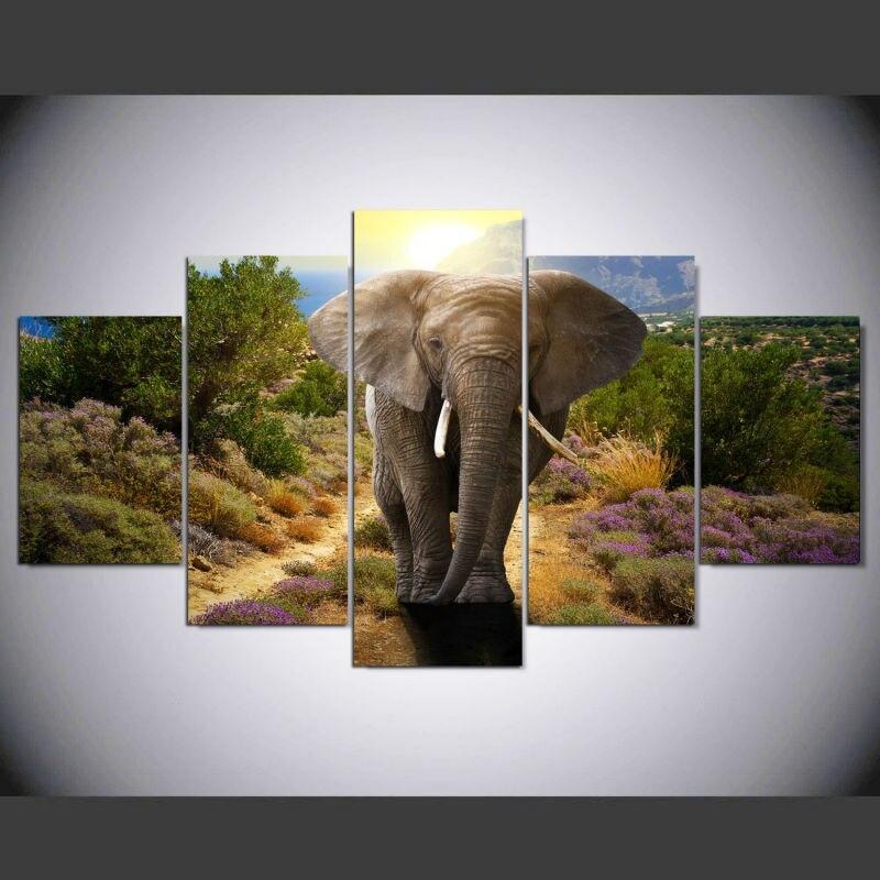 Tableau Éléphant 5 Parties