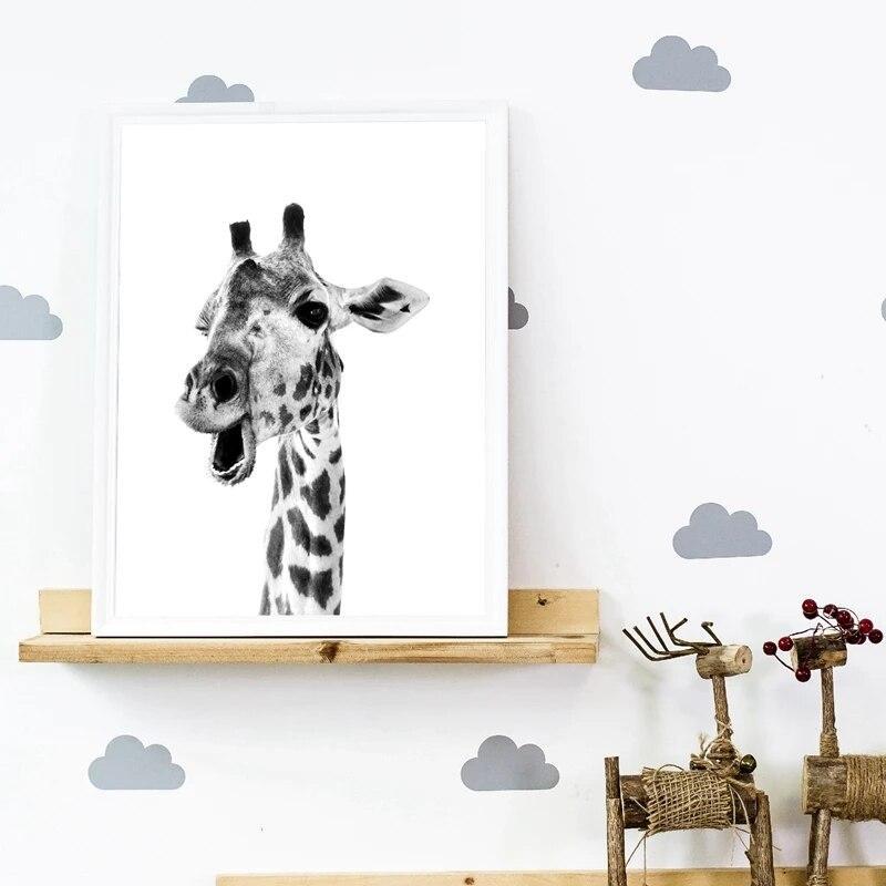 Tableau Girafe Noir et Blanc