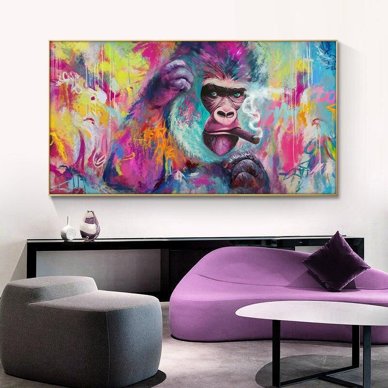 Tableau Gorille Multicolore