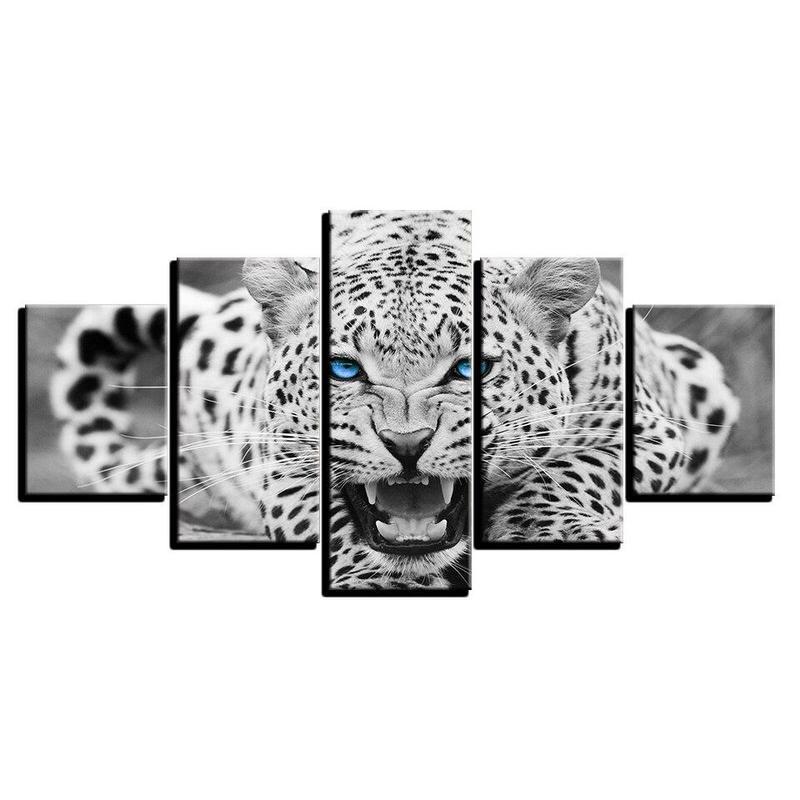 Tableau Léopard Noir et Blanc