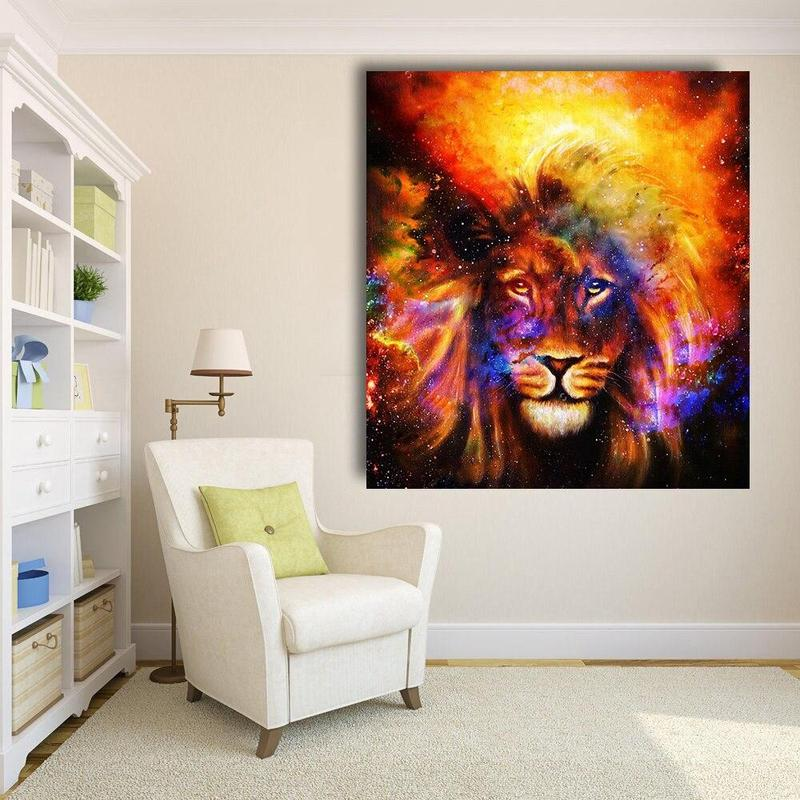 Tableau Tete De Lion Coloré