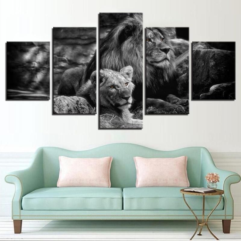 Tableau Lion & Lionne Noir & Blanc