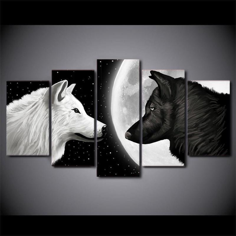 Tableau Loup Noir Et Blanc