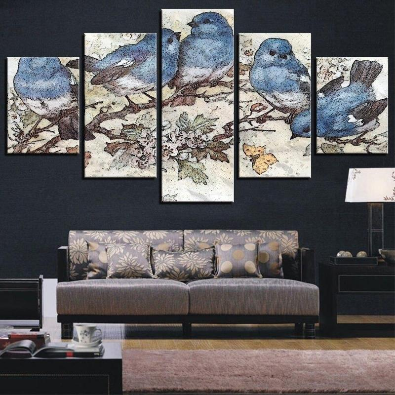 Tableau Oiseaux Bleus