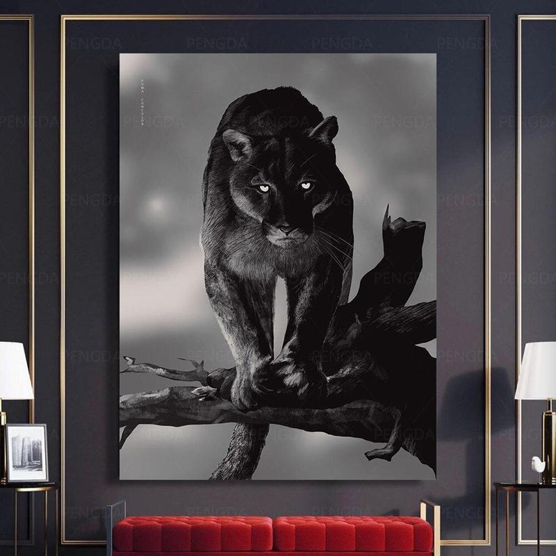 Tableau Panthère Noir & Blanc