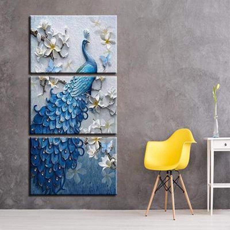 products tableau paon bleu
