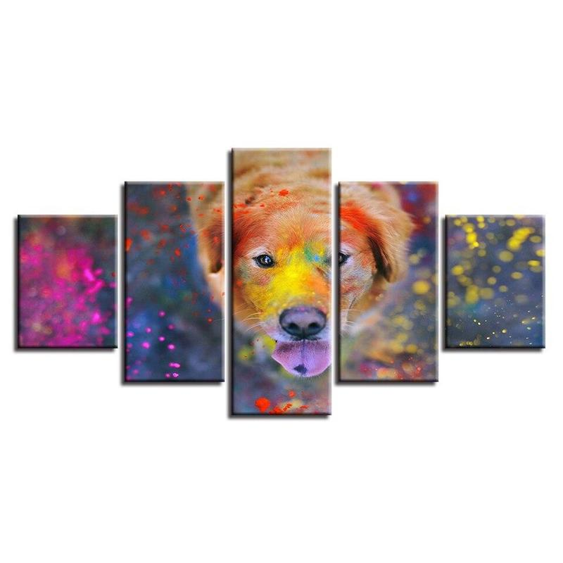 Tableau Chien Moderne Multicolore