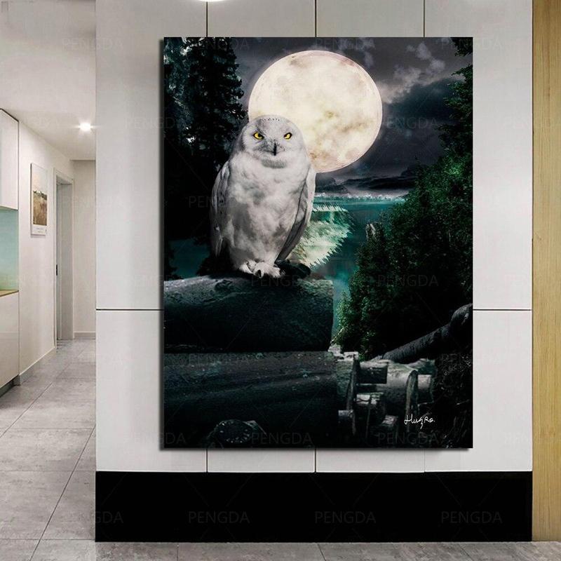 Tableau Chouette & Pleine Lune