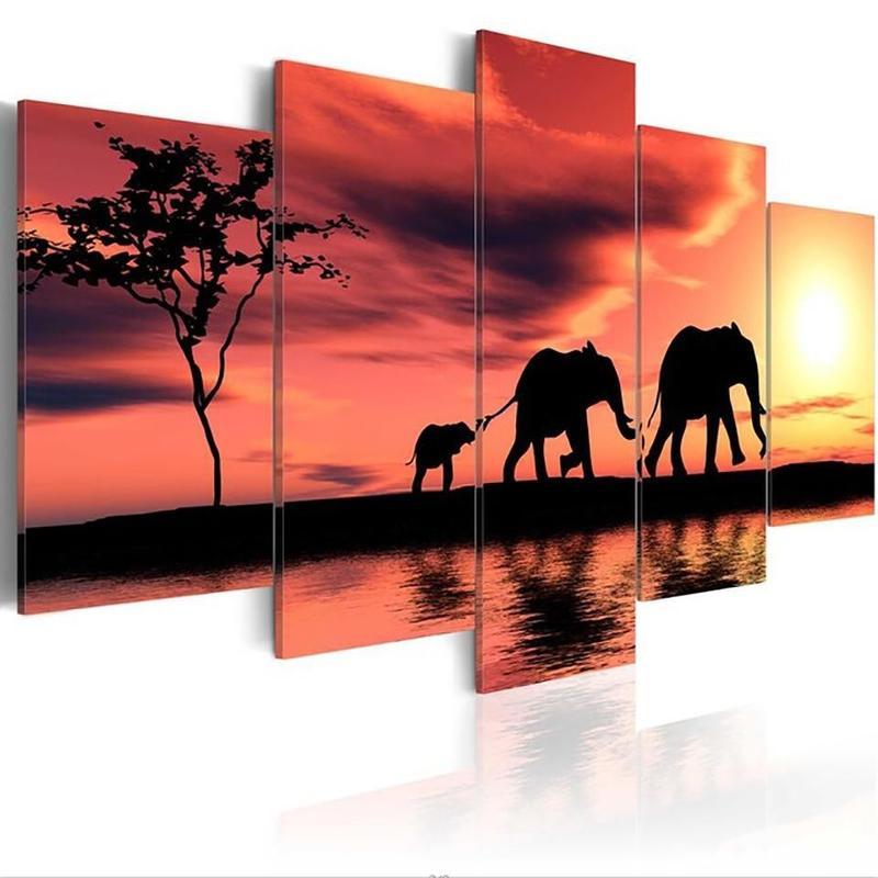 Tableau Famille d'Éléphants