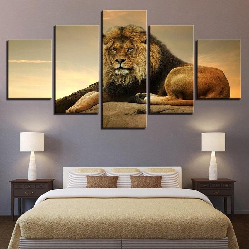 Tableau Lion Attentif