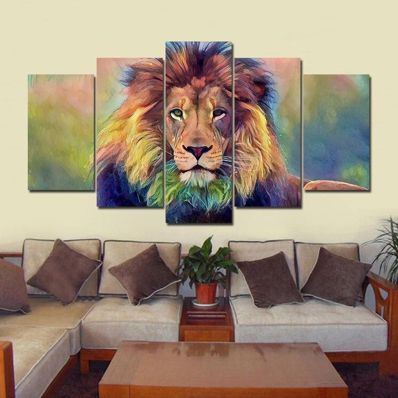 Tableau Tête de Lion Coloré
