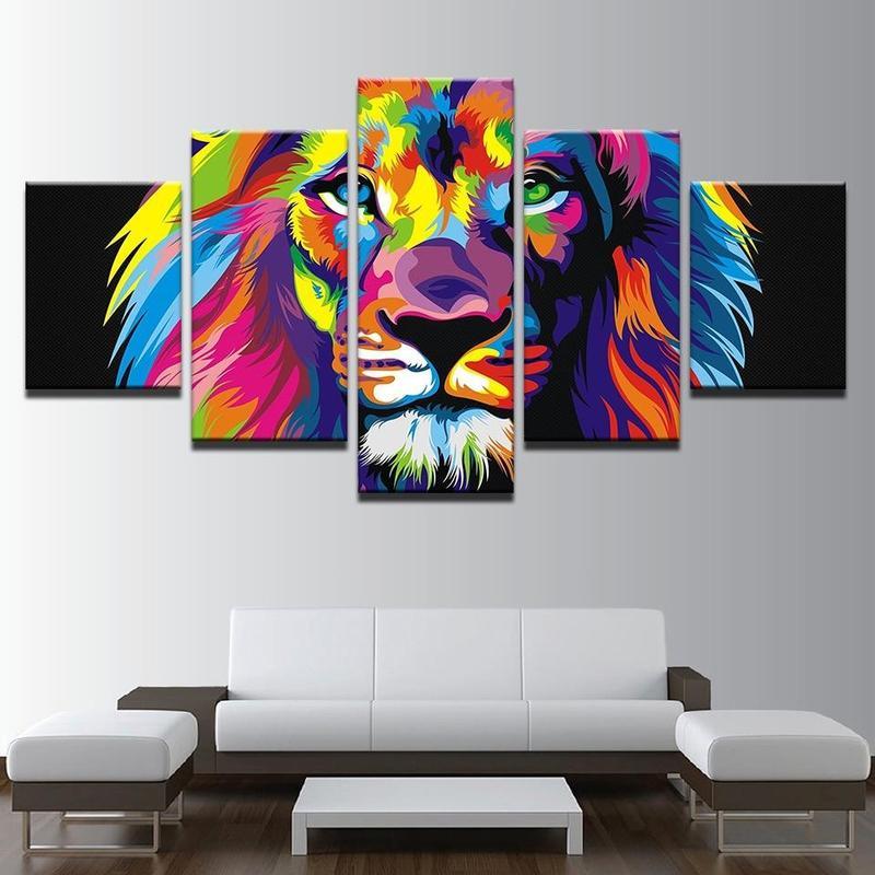Tableau Tête De Lion Couleur