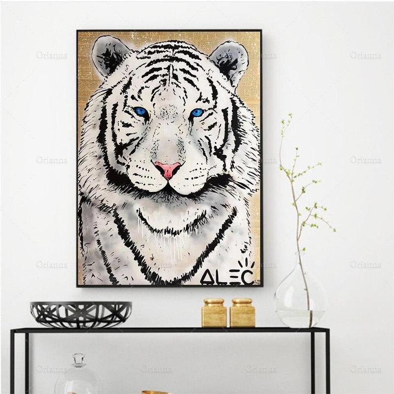 Tableau Tête de Tigre Noir et Blanc