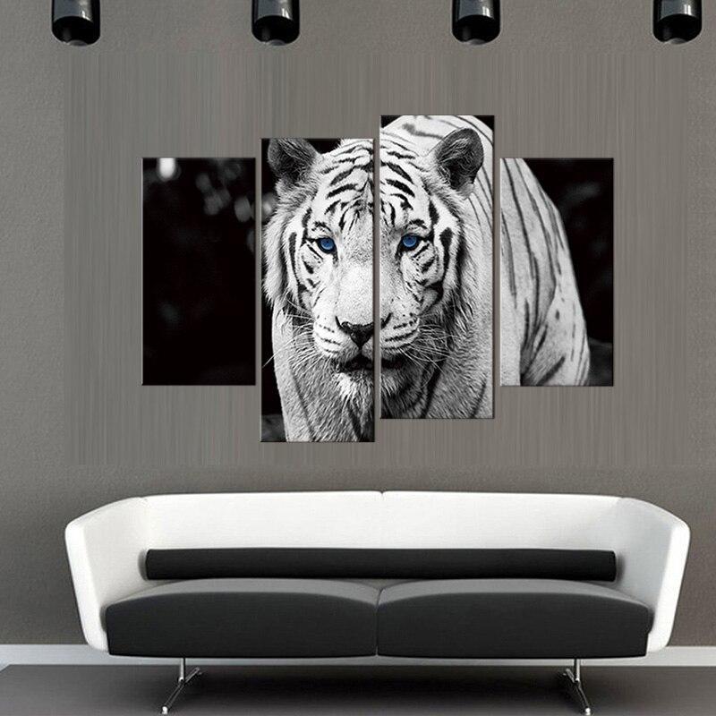 Tableau Tigre Blanc aux Yeux Bleus