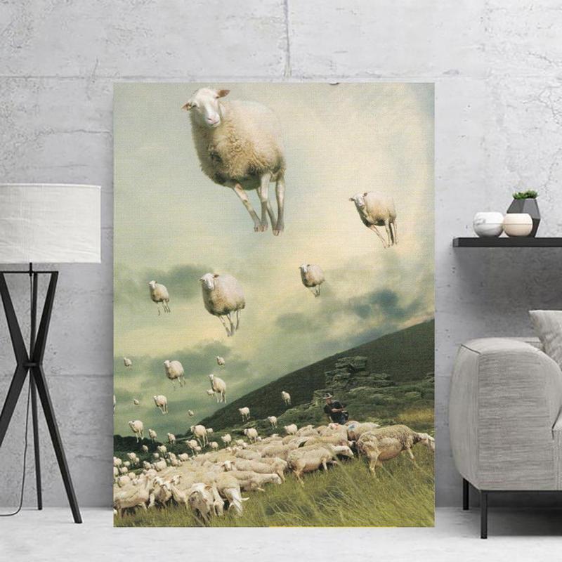 ableau troupeau de moutons