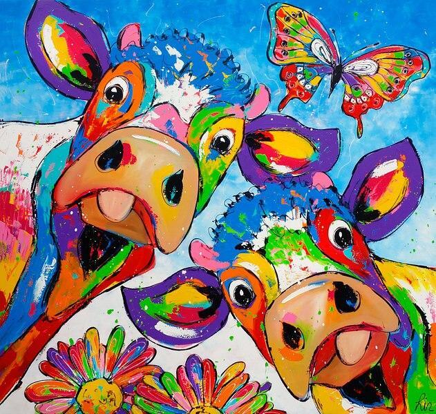Toile Vaches & Papillon