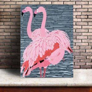 Tableau Peinture Flamant Rose