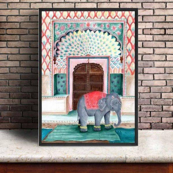 Toile Éléphant Ethnique
