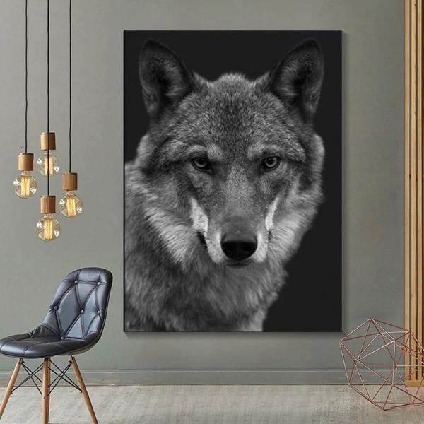 Toile Loup Noir Et Blanc