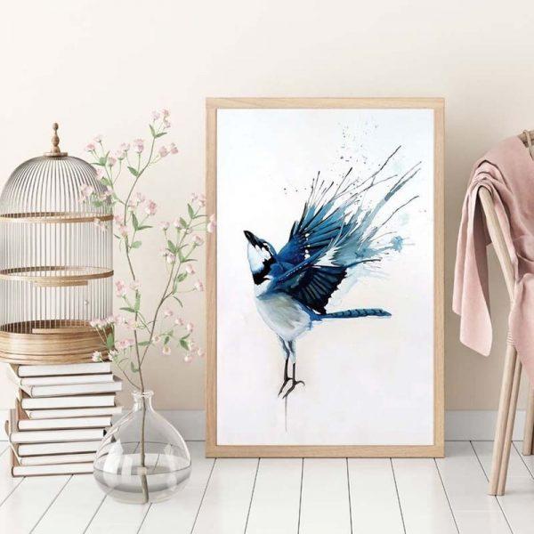 Peinture Oiseaux Sur Toile De Lin