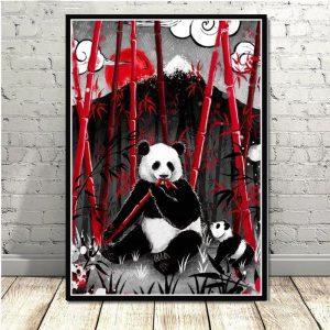 Poster Panda Japonais