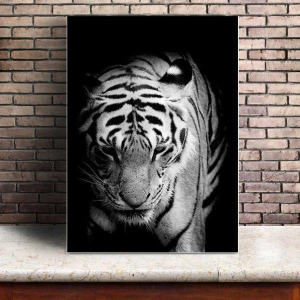 Poster Tigre Noir Et Blanc