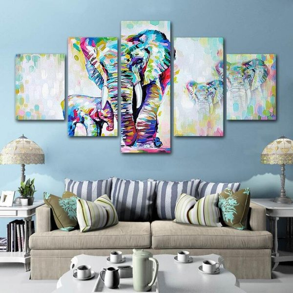 Tableau Éléphant Abstrait en Famille